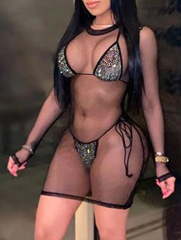 Sexy Tie-Wrap Rhinestone Three Bikini Set