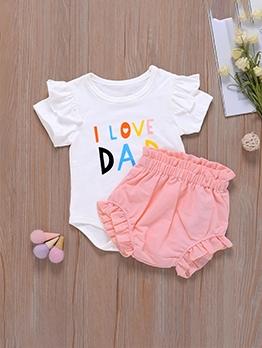 Lovely Letter Short Sleeve Romper Baby Gift Set