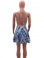 Halter Backless Plaid Crop Top Skirt Set