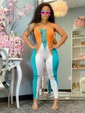 Euro Color Block Women Strapless Jumpsuit