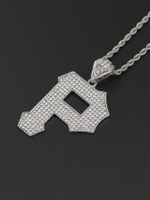 Simple Letter P Alloy Material Pendant Necklace