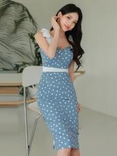 Summer Polka Dots Sleeveless Bodycon Dresses