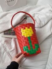 Contrast Color Bucket Handbags For Women
