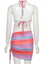 Adorable Print Backless Pleated Halter Summer Dress