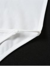 Seductive Plain White Backless U Neck Bodysuit