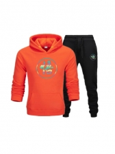 Casual Printed Hoodies With Sporty Long Pants