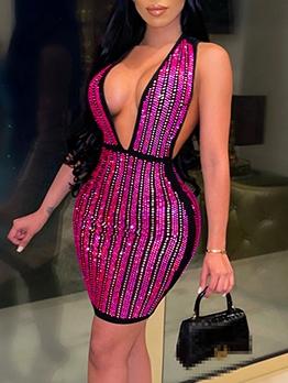 Deep V Neck Sequined Sleeveless Dress
