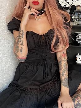 Preppy Style Stylish Black Puff Sleeve Dress Summer