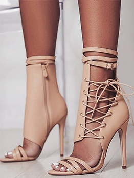 Night Club Lace-Up Design Summer Womens Boots