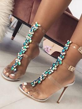 Round Toe Patchwork High Heel Sandals For Women
