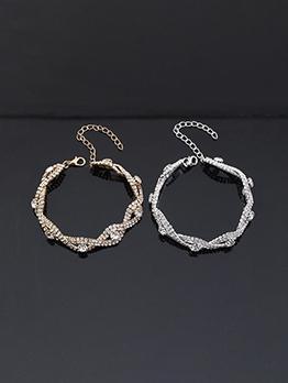 Create Simple Full Rhinestone Alloy Material Bracelet