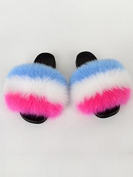 Contrast Color Fur EVA Sole Women Slippers