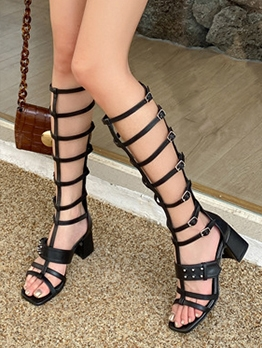 Roman Style Chunky Heel Lace Up Boots