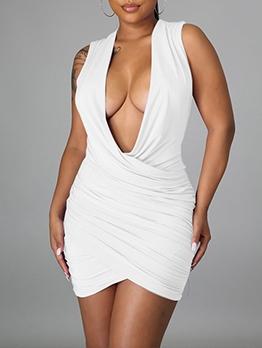 Deep V Neck Ruched Sleeveless Mini Dress