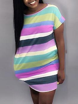 Euro Colorful Striped T Shirt Dress