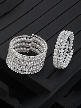 Full Rhinestone Faux-Pearl Bracelet For Women