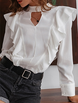 Euro Frill Long Sleeve Ladies Blouses