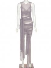 Chic Gauze Tie Wrap Sleeveless Bodycon Dress