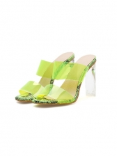 Clear Upper High Heeled Ladies Slippers