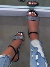 Fashion Rhinestone Round Toe Beach Sandals