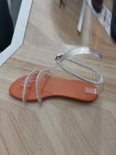 Beach Rhinestone Decor Female Flat Sandals