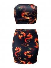 Dragon Printed Two Piece Skirt And Top Set