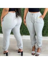 Solid Casual Drawstring Versatile Long Pants