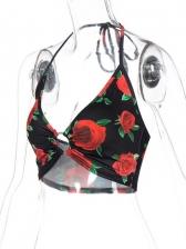 Summer Rose Printed Backless Halter Tank Top
