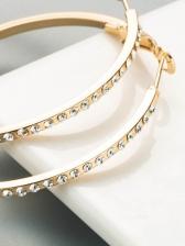 Simple C-Shape Rhinestone Easy Match Earrings