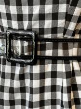 Plaid Puff Sleeve Korean Style Midi Dress