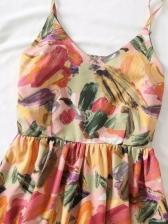 Summer Print Vacation Sleeveless Dress Casual