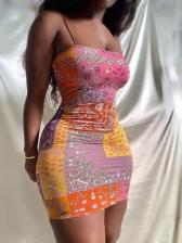 Seductive Ethnic Print Short Sleeveless Dress