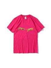 Fashion Cigarette Printed Loose Short Sleeve Tee Shirts
