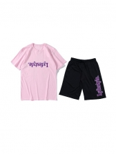 Pure Color Letter Printed Tees With Short Pants