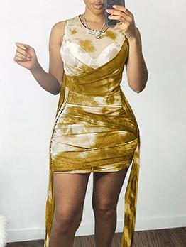 Sexy Gauze Tie Dye Bandage Sleeveless Dress