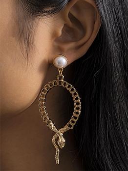 Hollow Out Geometry Snake Shape Stylish Earrings