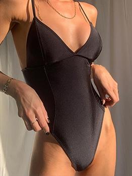 Fashion V Neck Solid Skinny Bodysuits For Summer