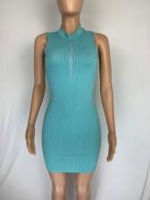 Stand Neck Zipper Up Sleeveless Bodycon Dress