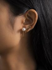 Antlers Shape Design Faux-Pearl Stud Earrings