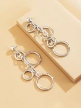 Trendy Cool Geometry Round Long Earrings