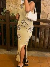 Summer Sexy Backless Print Sleeveless Midi Dresses
