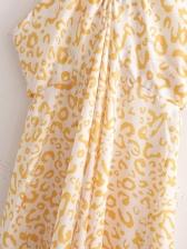 Sexy Print Halter Midi Dress For Women