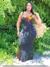 Scoop Neck Inkjet Backless Printing Sleeveless Maxi Dress