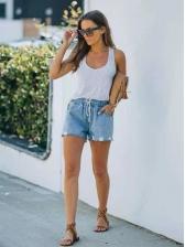 Summer Pure Color Tie-Wrap Straight Short Pants