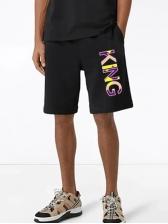 Summer Casual Drawstring Printed Letter Short Pants