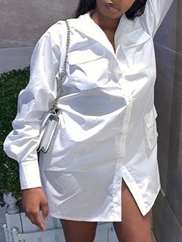 Fashion Solid Pocket Long Sleeve Shirt Dress