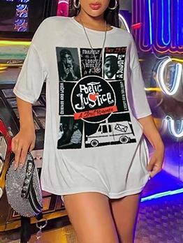 Fashion Letter Cool Pattern Ladies T Shirts