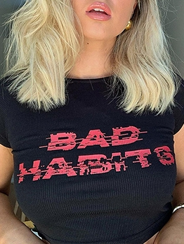 Summer Trendy Letter Printed Cropped T-Shirt