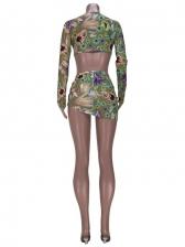 Sexy Summer Print Long Sleeve Three Pieces Skirt Set