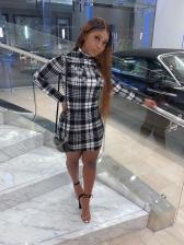 Leisure Plaid Long Sleeve Summer Dress